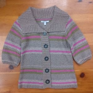Old Navy Wool Blend Pink & Beige Striped Sweater